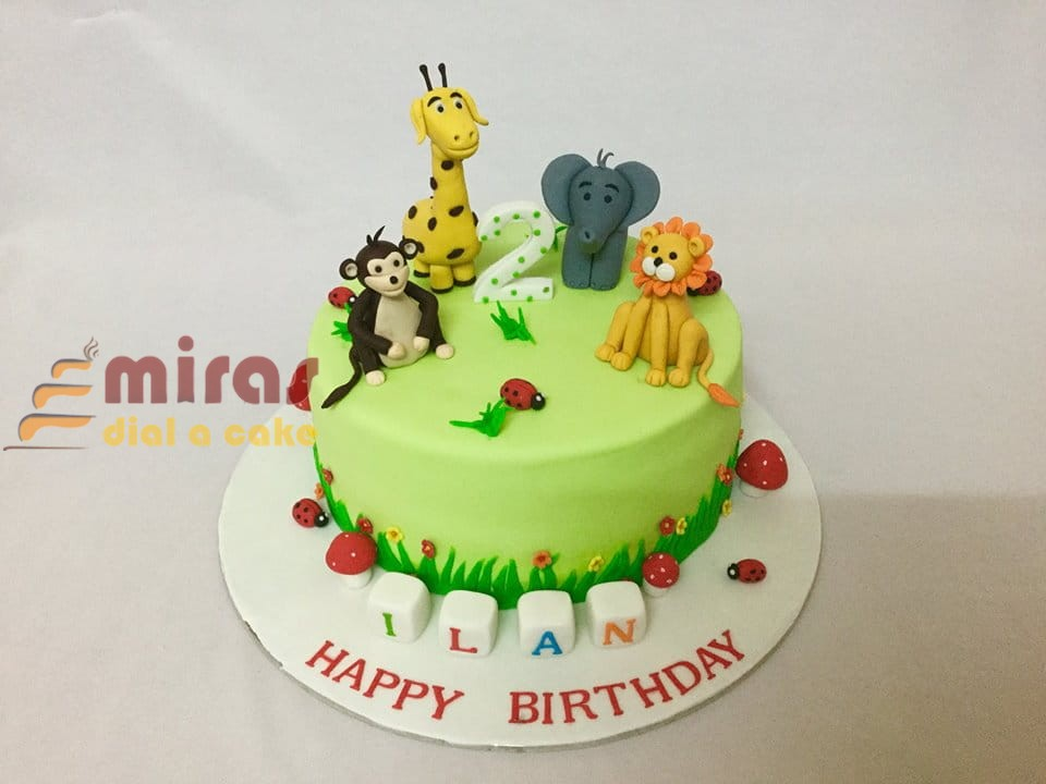 Enjoyable Online Animal Theme Birthday Cake Customised Cakes Delivered In Funny Birthday Cards Online Alyptdamsfinfo