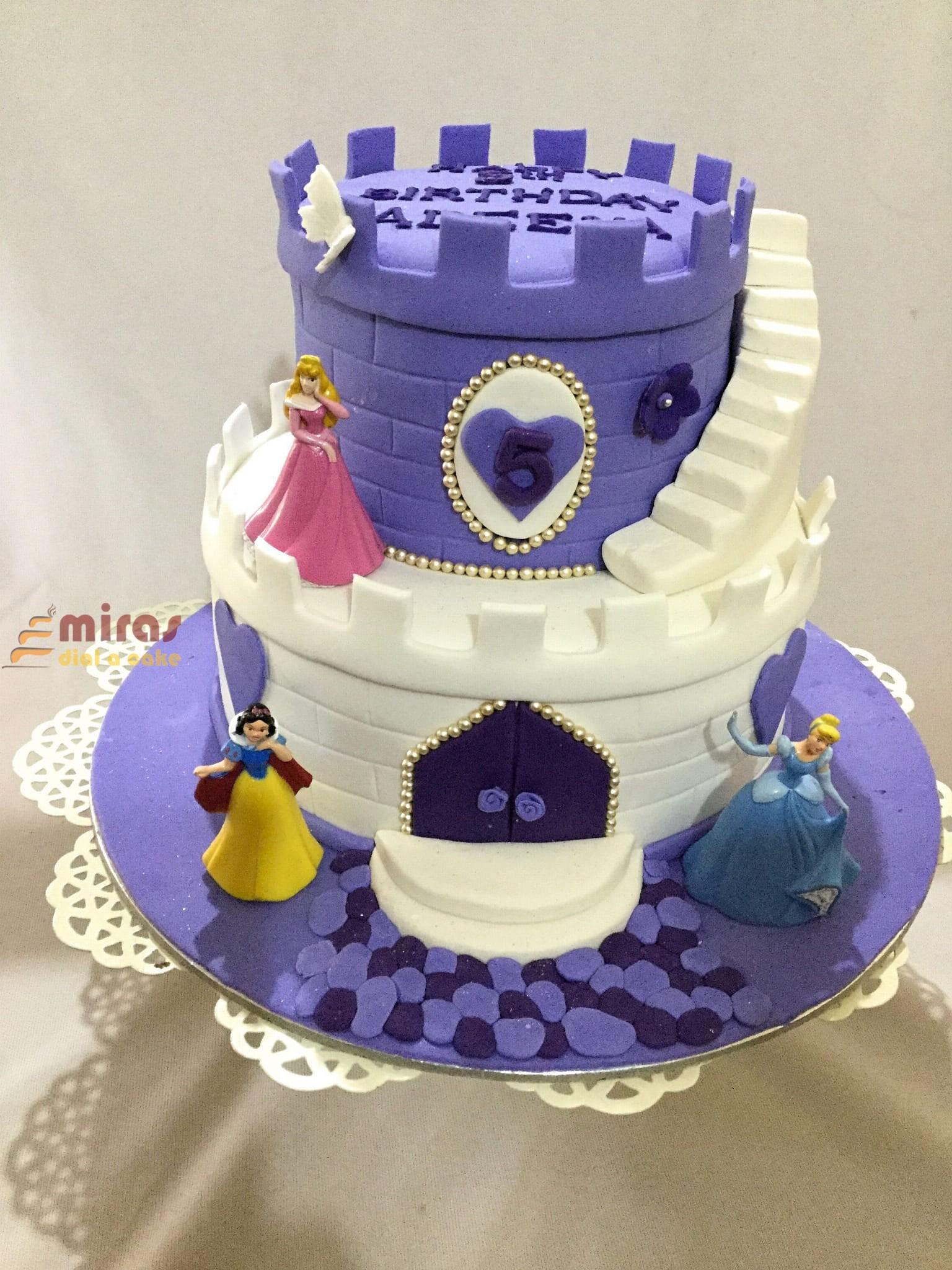 Excellent Online Disney Princess Castle Theme Birthday Cake Customised Personalised Birthday Cards Petedlily Jamesorg