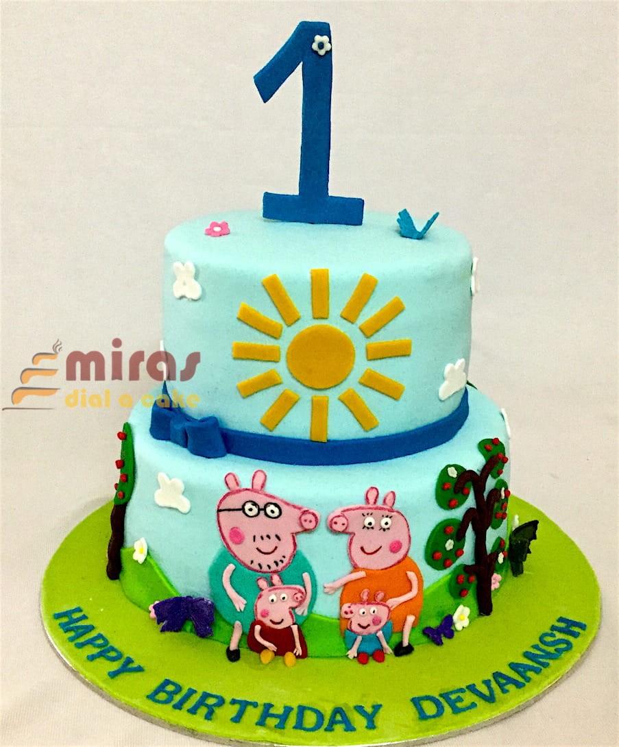 Devaansh Peppa Pig 1st Birthday Cake Jpeg
