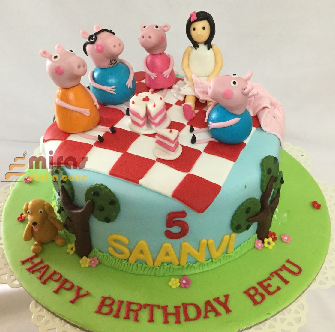 Saanvis 5th Birthday Peppa Pig Cake 15kg 2850jpeg