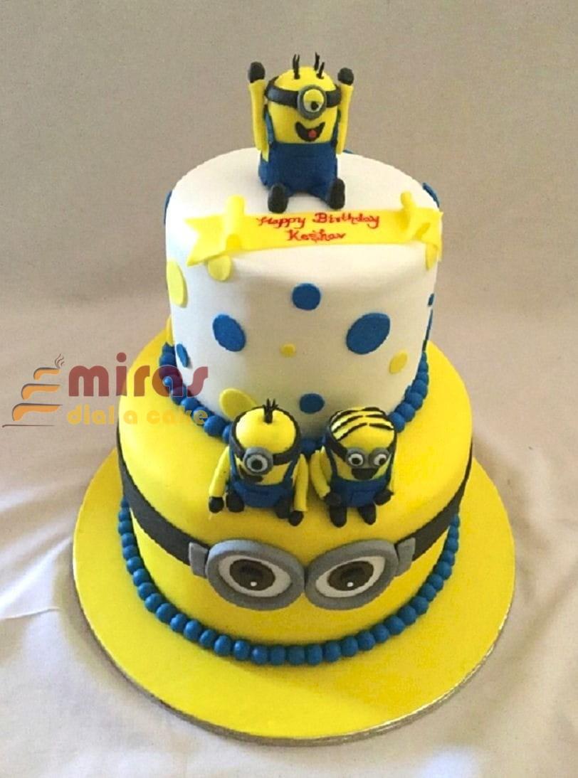 Brilliant 2 Tier Minion Theme Birthday Cake Online Birthday Cakes Funny Birthday Cards Online Fluifree Goldxyz