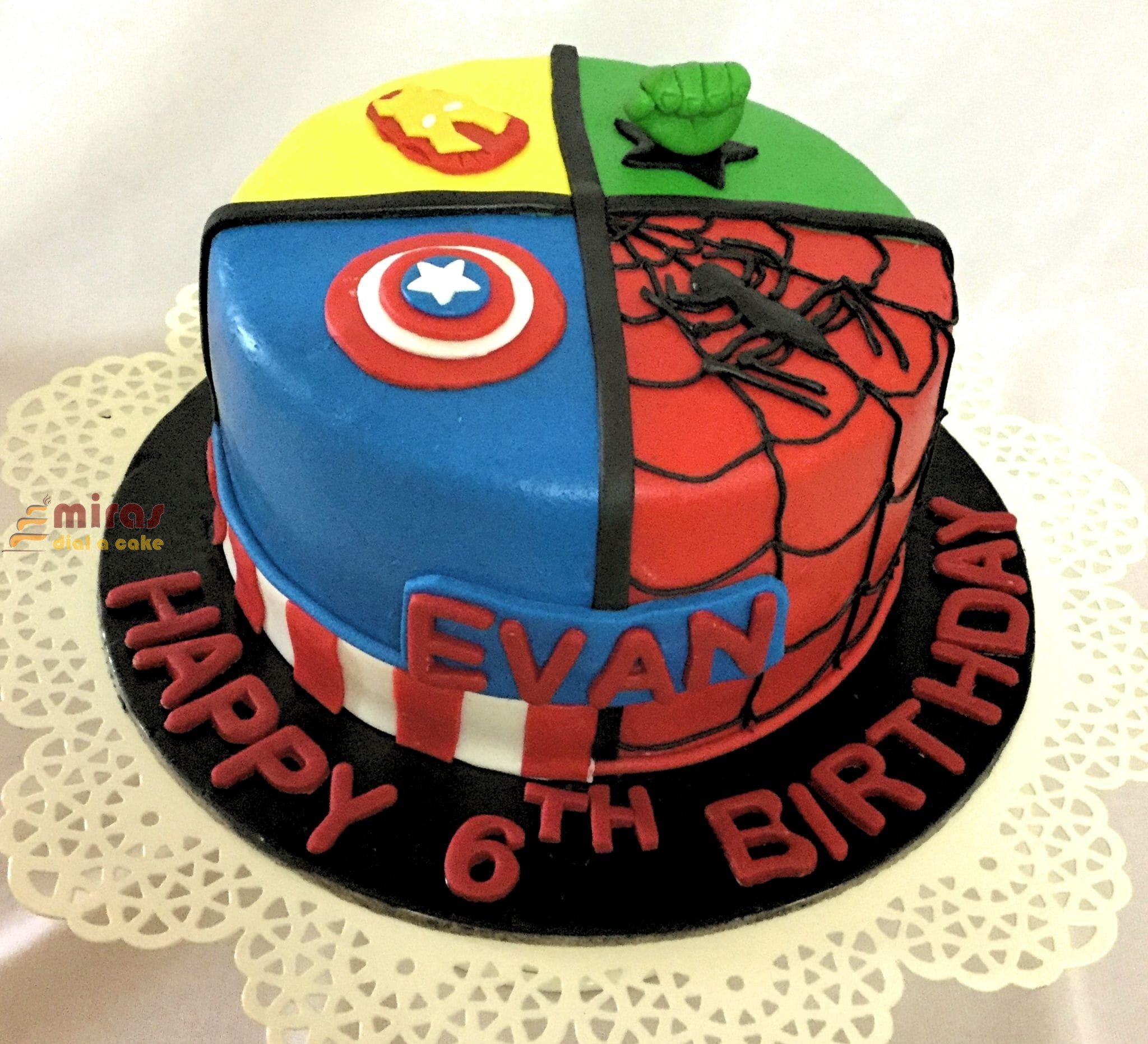 Peachy Birthday Cake Avenger Theme Cake Online Birthday Cakes For Boys Personalised Birthday Cards Veneteletsinfo
