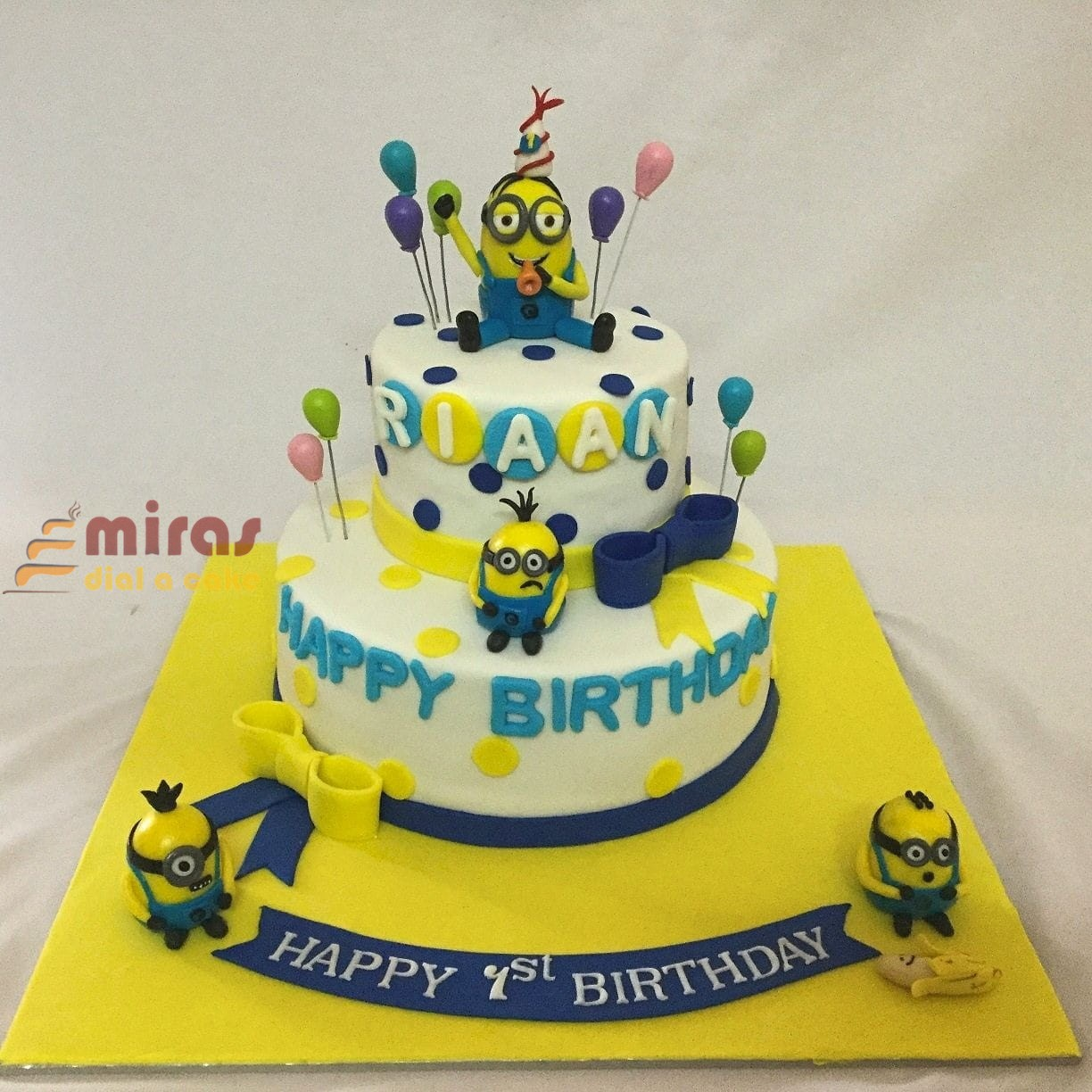 Marvelous Minion Theme 1St Birthday Cake Online Birthday Cakes Bangalore Personalised Birthday Cards Epsylily Jamesorg