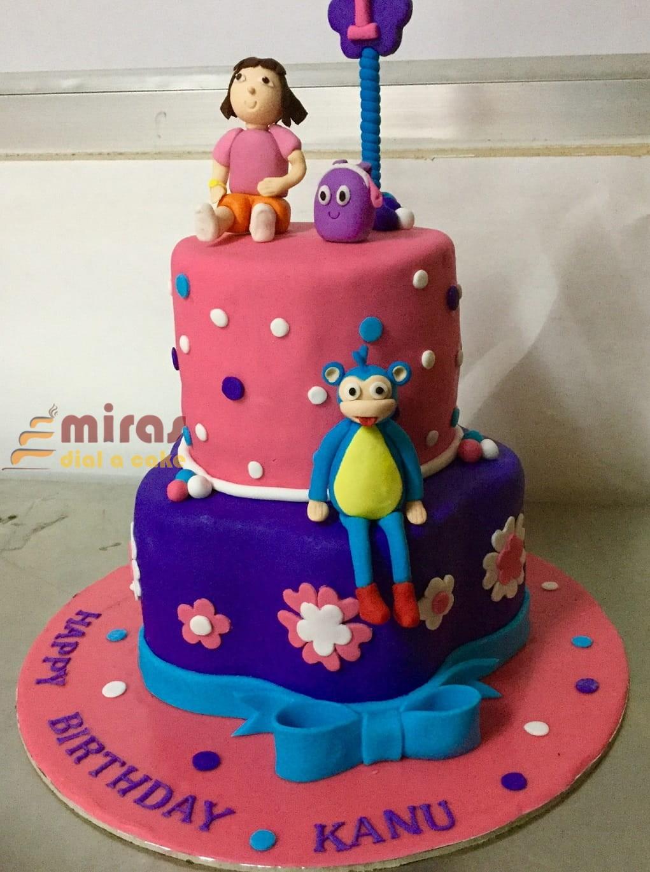 Phenomenal Birthday Cake Dora Theme Cake Online Birthday Cakes For Girls Funny Birthday Cards Online Fluifree Goldxyz