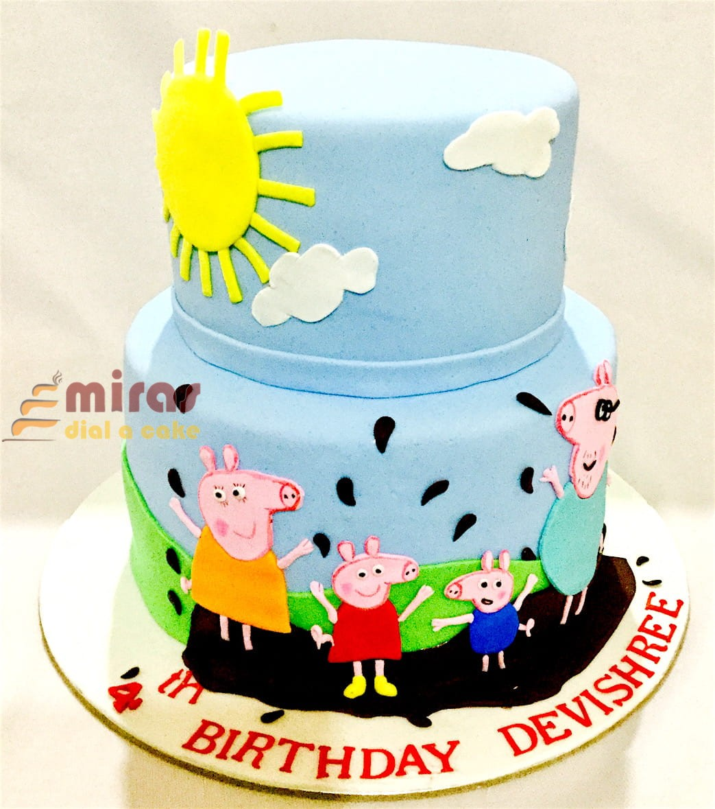 Tremendous Online Peppa Pig Theme Birthday Cakes For Kids I Order Online For Personalised Birthday Cards Beptaeletsinfo