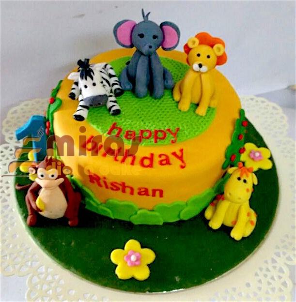 Rishans Animal Theme Cake 1Kg 2100