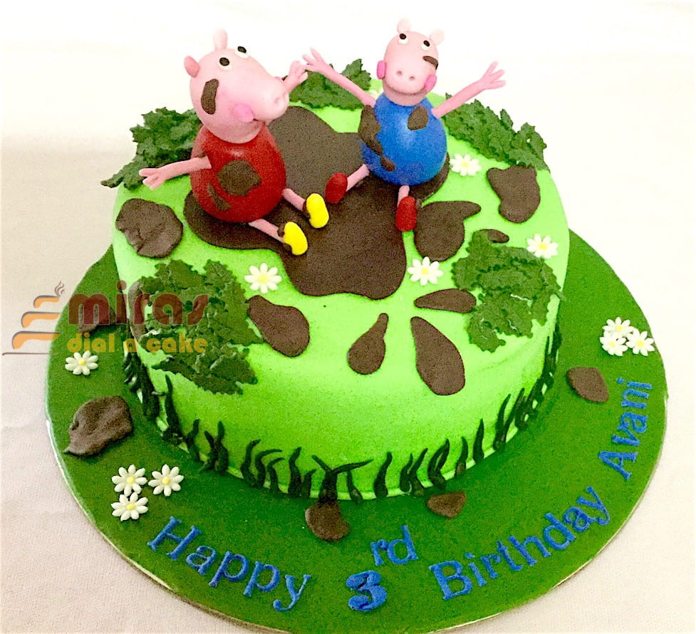 Surprising Online Peppa Pig Theme Birthday Cakes For Kids I Order Online For Personalised Birthday Cards Arneslily Jamesorg