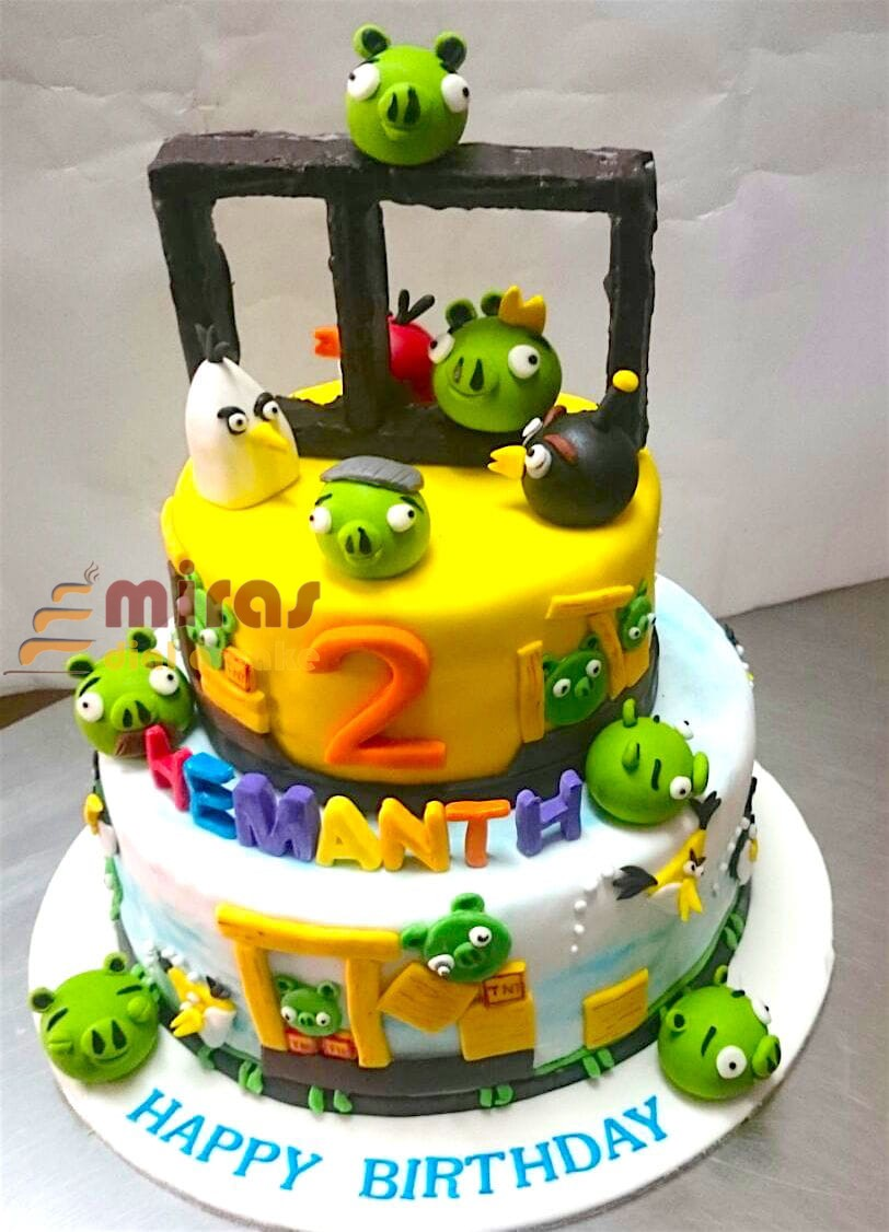 Fabulous Online Birthday Cakes Order Angry Bird Theme Birthday Cake For Funny Birthday Cards Online Fluifree Goldxyz