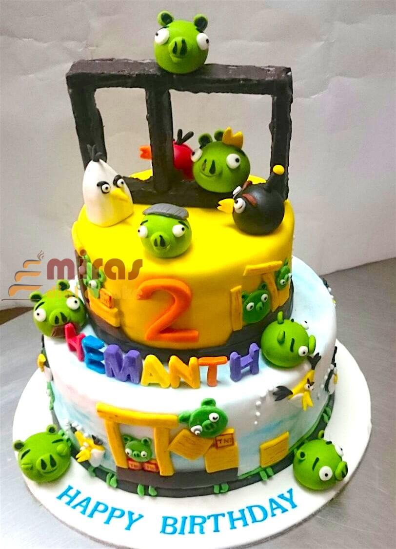 Astounding Online Birthday Cakes Order Angry Bird Theme Birthday Cake For Funny Birthday Cards Online Alyptdamsfinfo