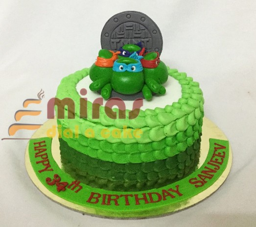 Super Online Ninja Turtles Theme Birthday Cake Customised Cakes Funny Birthday Cards Online Fluifree Goldxyz