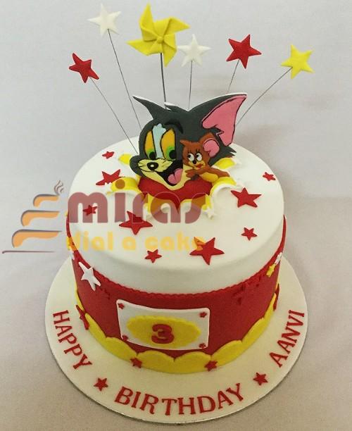 Fine Online Birthday Cakes Order Tom Jerry Theme Birthday Cake For Birthday Cards Printable Trancafe Filternl