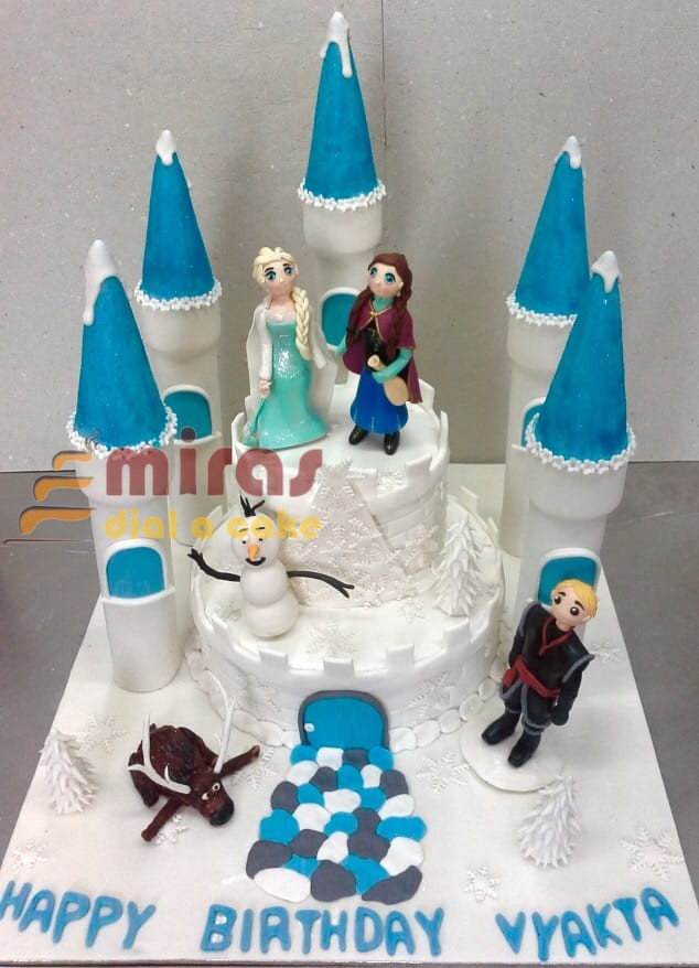 Tremendous Online Frozen Castle Theme Birthday Cake Customised Cakes Funny Birthday Cards Online Overcheapnameinfo