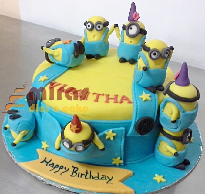 Peachy Minion Theme Birthday Cake Online Birthday Cakes Bangalore Funny Birthday Cards Online Fluifree Goldxyz