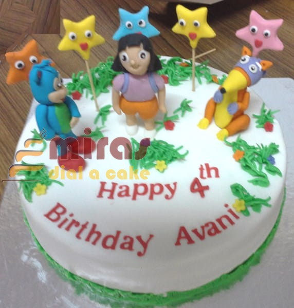 Outstanding Birthday Cake 4Th Birthday Dora Theme Cake Online Birthday Cakes Funny Birthday Cards Online Alyptdamsfinfo