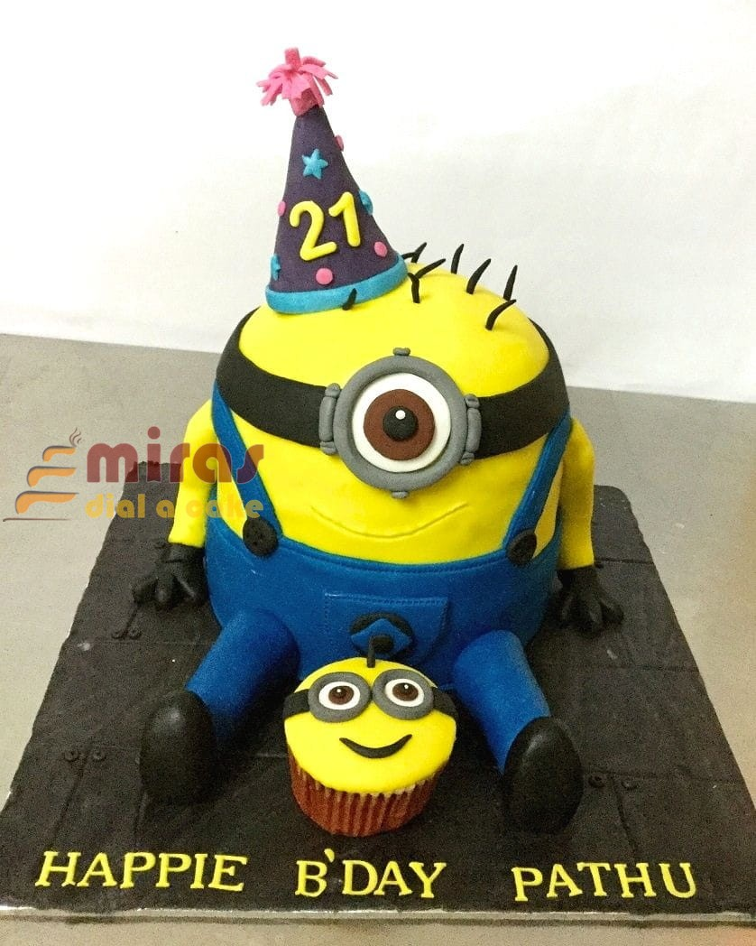 Awesome Minion Theme Birthday Cake Online Birthday Cakes Bangalore Personalised Birthday Cards Veneteletsinfo