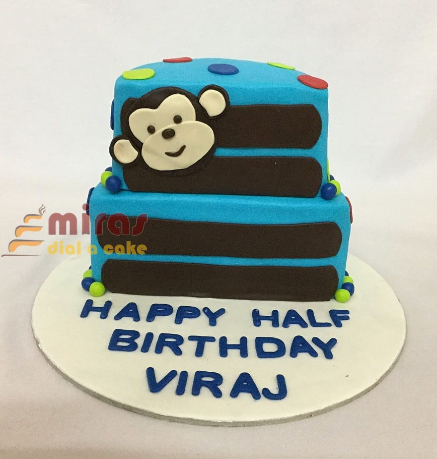 Monkey Themed Half Birthday Cake 2kgs