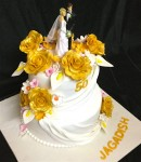 Golden Flower  Wedding Cake