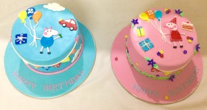 Twins  Birthday Peppa Pig Cake