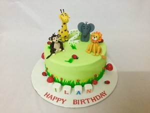 Animal Theme 2nd Birthday Cake