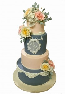 4 Tier Floral A&M Custom Wedding Cake