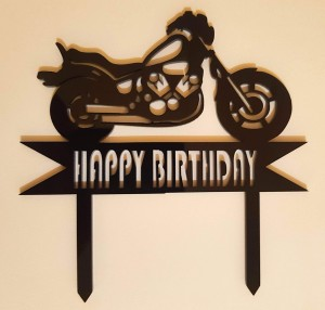 Motorbike Happy Birthday Topper - Black