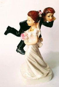 Funny Wedding Cake Topper- Bride carrying Groom on shoulder