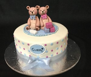 Two Teddies Baby Shower Cake