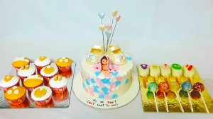 Baby Shower Dessert Table ( 1.5 Kg cake, 10 Cupcakes, 5 Cakecicles & 5 Cake pops)
