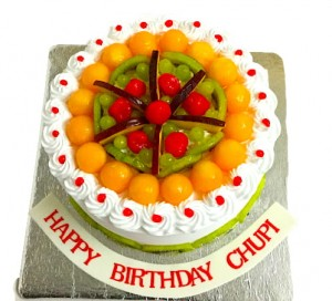 Colorful Fresh fruit Cream cake for Birthday
