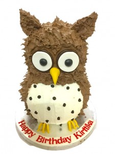 Owl theme Birthday Cream Cake