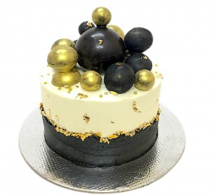 Black and Gold Chocolate Balls  Cake