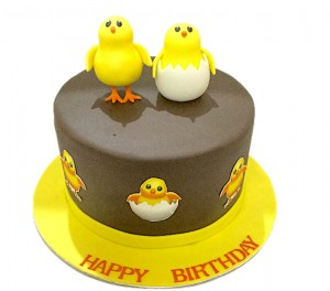 Two Cute Chicks Birthday Cake