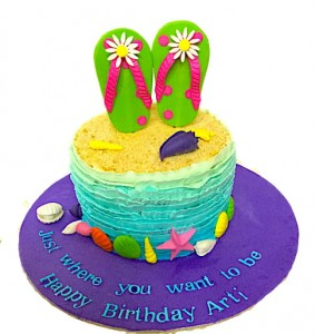 Beach theme Birthday Cream Cake