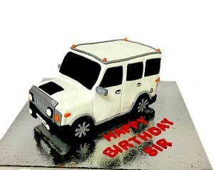White Hummer SUV theme Birthday Cake