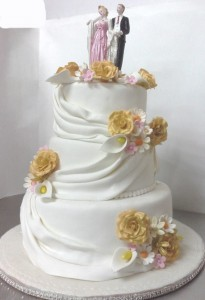 White Wedding Cake with Toppers