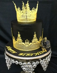 Beautiful Black and Gold tiara Birthday cake