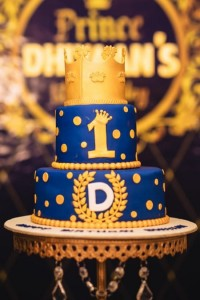 Custom Birthday Cake Royal blue & gold
