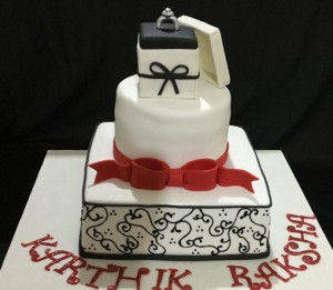 Black and White Engagement Ring cake 3kgs