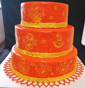 3 tier Ethnic Wedding Cake