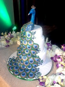 Wedding Cake- Blue Peacock theme