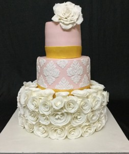 Vintage White Roses Wedding Cake 6kgs
