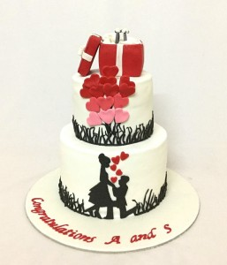 A and S Engagement Ring cake