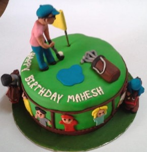 Golf  Theme Customized Birthday Cake