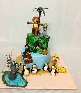 2 tier Madagascar Birthday Cake