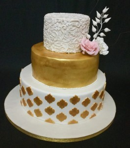 3 tier Gold and white wedding cake