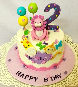 2nd Birthday Animal Theme Layla  Cake