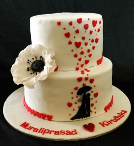 Romance Under Umbrella Valentine Cake