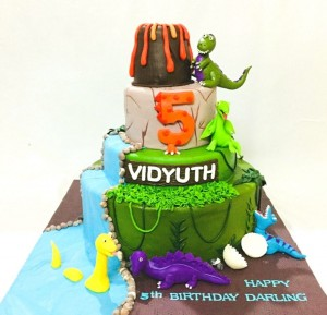 5th Birthday Custom Dinosaur theme Cake