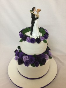 Purple Flowers theme Wedding Cake