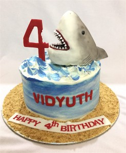 4th Birthday Cream Cake Shark theme